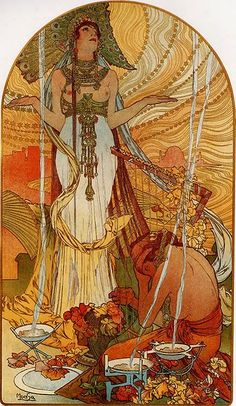 Alfons Maria Mucha was a Czech painter, illustrator and graphic artist, living in Paris during the Art Nouveau period, best known for his distinctly stylized and decorative theatrical posters, particularly those of Sarah Bernhardt. Motifs Art Nouveau, Art Nouveau Mucha, Alphonse Mucha Art, Motif Art Deco, Art Nouveau Poster, Art Nouveau Illustration, Nature Illustration, Aesthetic Art, Art History