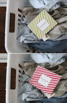 Keep track of clean/dirty laundry with a card to put in the top of the basket.