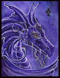 Aceo print  the purple dragon Fantasy art  by TheArtOfReneeLLavoie