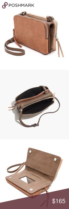 """Twin Pouch Crossbody in Colorblock Washed Leather NWT This beautiful little crossbody has two zippered pouches, two slip pockets, and another slip compartment when you open it. There's also a mirror for quick touch ups. There is a small monogram on the darker side, which is a warm blush tan color. The middle is a darker taupe, and the other side is a light beige. Removable crossbody strap.  7""""h x 9""""w x 2.5""""d  ❌ Sorry, no trades.   fairlygirly Madewell Bags Crossbody Bags"""