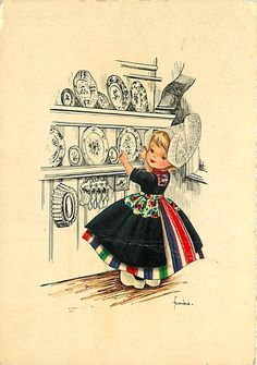 Dutch girl vintage post card.
