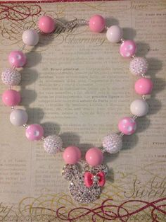 Pink Minnie Mouse Chunky Bead Necklace Toddler Necklace Kids Necklace Kid Jewelry Bubble Gum Necklace..  Photography Prop on Etsy, $18.75