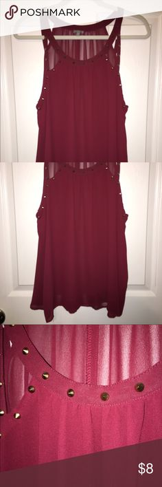 Maroon studded tank Worn once Charlotte Russe Tops Tank Tops