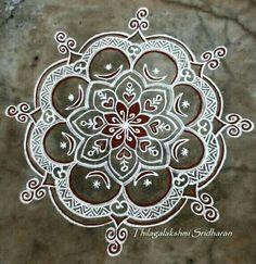 Rangoli and Art Works: Margazhi 2015 - Day 8 kolam Indian Rangoli Designs, Rangoli Designs Latest, Latest Rangoli, Rangoli Ideas, Rangoli Designs Images, Kolam Rangoli, Beautiful Rangoli Designs, Padi Kolam, Free Hand Rangoli Design