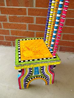 Bright Sunny Hand Painted Child Size Chair por Bofranky en Etsy