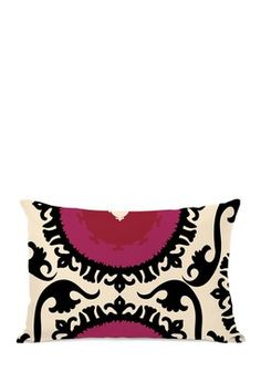 "Suzy Ivory/Black/Red 14"" x 20"" Zipper Pillow"