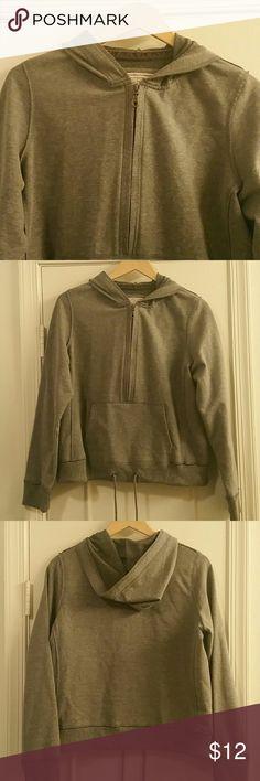 Gray hoodie Kangaroo pocket. Half zip. Drawstring at the hem and decorative interior velvet ribbon at the neckline. Like a sweater & sweatshirt hybrid - soft and snuggly. Ruff Hewn Tops Sweatshirts & Hoodies