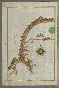 Illuminated Manuscript: Map of the Anatolian coast from Alanya (ʿAlāʾiye Alaiye) to Andalye (Antalya, formerly known as Adalia or Attalia) from Book on Navigation, Walters Art Museum: Illuminated Manuscripts