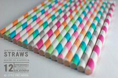 Sweet Shoppe Mix Paper Stripey Straws  12pk & Digital Flags - Party - Birthday - Baby Shower - Wedding