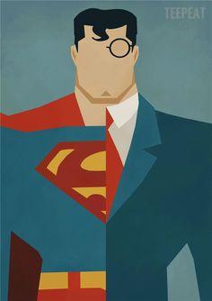 Superman Clark Kent Alter Ego Minimalist Poster by CultPoster, Clark Kent, Nerd Kunst, Marvel Fanart, Arte Dc Comics, Nerd Art, Minimalist Poster, Alter Ego, Marvel Heroes, Diy Painting