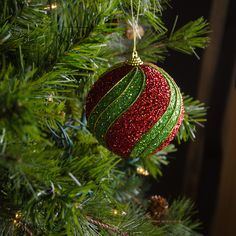 100MM Round Ball Ornament (Set of 4): Red & Green Glitter Swirl