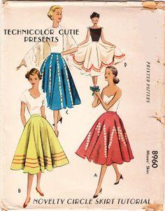 Novelty Felt Circle Skirt Tutorial! | Tme recuerdan a las polleras plato que usé en la década del 50 y del 60echnicolor Cutie
