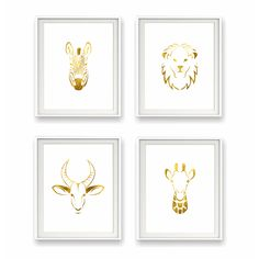Safari Gold Foil Animal Print Collection - perfect for the nursery or kids room and oh-so-chic! #PNshop