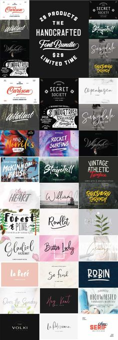 A few great fonts in this bundle. Among others: Whiplash, Ceremony, Carlson and Over The Sunday