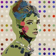 "Saatchi Art Artist Czar Catstick; Painting, ""Green Holly, Audrey Hepburn Portrait, 30 inch square, Edition #2 of 20"" #art"