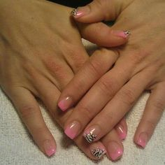 Pink French manicure gel nails
