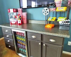 Popcorn maker, gum ball machine, and cooler for soda