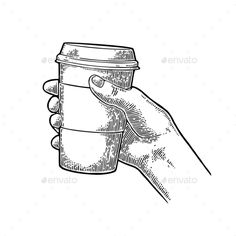 Hand holding a disposable cup of coffee with cardboard holder and cap. Vintage black vector engraving illustration for label, web,