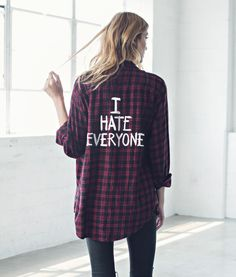 ff4c286dbf334a I Hate Everyone Flannel Shirt (LAST CHANCE  Only a few size XS left