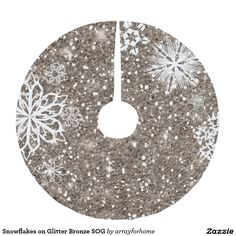 Snowflakes on Glitter Bronze SOG Brushed Polyester Tree Skirt