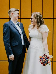 See more images from this beautiful wedding by clicking the link! ~ A portrait photograph of a wedding couple stood looking at each other smiling in the city centre of Manchester Lgbt Wedding, Wedding Couples, Wedding Day, Photography Ideas, Wedding Photography, Newlyweds, Manchester, Amanda, Centre