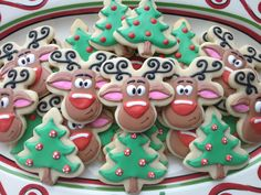 Christmas Cookies- Rudolph sugar cookies with royal icing