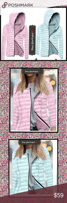 🆕️❎JUST IN❎ Lightweight puffer jacket with hood 🆕️⏬❎JUST IN---SPECIAL INTRO PRICE ❎ (Price returns to $49 after intro)  Lightweight puffer jacket  💝Available in Sizes Small-XXXL 🔵💗Comment size and color desirable   ✅✴🆒️🆕️ boutique item-- PINK MED, PINK 2XL and BLUE MED AND BLUE 2XL available NOW!!!  🔵💟See size chart & ask for measuring if needed 🔵💟 Size up one size Ask questions-- I want you to love your purchase!!  💝**1 size Medium and 1 size 2XL of EACH color jacket-- IN STOCK…