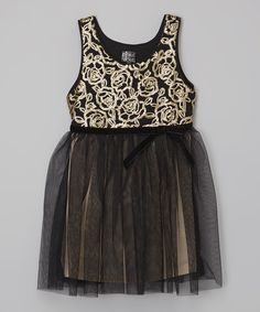 Look at this Black & Gold Rose A-Line Dress - Toddler & Girls on #zulily today!