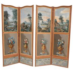 19th century French Painted Canvas Screen | From a unique collection of antique and modern screens at http://www.1stdibs.com/furniture/more-furniture-collectibles/screens/