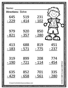 Subtraction Multi-Digit Numbers Within 1000 - Color Your Answers Printables {An… Math Coloring Worksheets, 3rd Grade Math Worksheets, Spelling Worksheets, School Worksheets, Printable Worksheets, Printables, Go Math, Math For Kids, Subtraction Worksheets