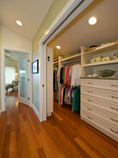 Narrow Closet Design Ideas, Pictures, Remodel and Decor Attic Master Bedroom, Bedroom Wardrobe, Wardrobe Closet, Master Closet, Deep Closet, Attic Bedroom Closets, Smart Closet, Hidden Closet, Double Closet