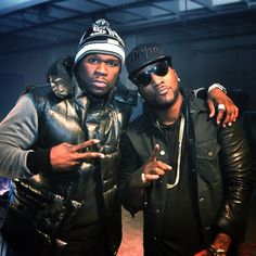 Jeezy posing with 50 Cent in Bausch Lomb Ray-Ban Wayfarer 2