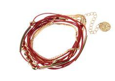 Bracelet chaîne Majique  Cordelette rouge Piece/médaillon dorée Finition dorée Longueur réglable http://www.majiquejewellery.fr/summer-2014-collection/bracelets/fb31815-61634.aspx