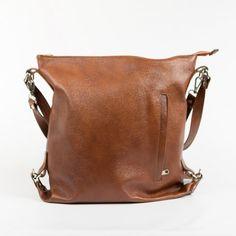 Dámska kožená taška / vak v gaštanovej farbe