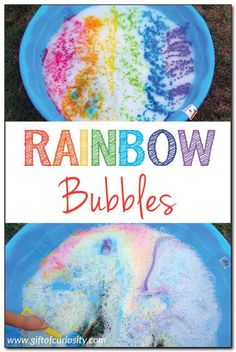 Rainbow bubbles {outdoor art and water play} Rainbow bubbles – an outdoor sensory art experience for kids that is perfect for a warm end of summer day/night! Katie @ Gift of Curiosity Bubble Activities, Outdoor Activities For Kids, Activities To Do, Toddler Activities, Rainbow Activities, Nursery Activities, Outdoor Fun For Kids, Bubble Games, Summer Crafts