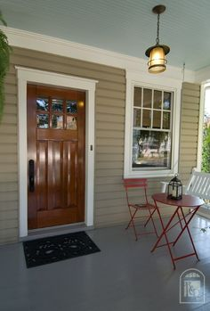 Beautiful Craftsman door against our exterior paint color (with a robin's egg blue up top - NEED TO PAINT THE PORCH CEILING ROBIN'S EGG BLUE).