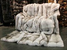 Natural Blue Fox Fur Blanket Faux Fur Blanket, Faux Fur Throw, Merino Wool Blanket, Faux Fur Bedding, Fur Decor, Black Leather Sofas, Fur Accessories, Fur Rug, Soft Blankets
