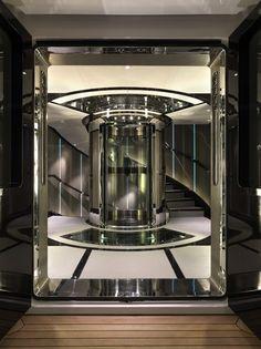 Candy and Candy design interiors spaces. Futuristic elevator design.