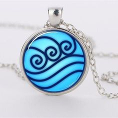 Avatar the Last Airbender Water Tribe Glass Pendant Necklace