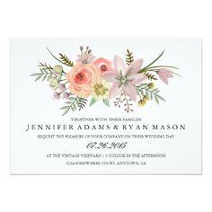 Watercolor Wedding Invitation Watercolor Flower Bouquet | Wedding Invitation