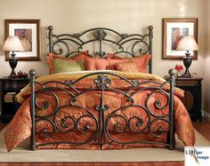 Wesley Allen Iron Furniture from Home Gallery Stores, an authorized dealer, has the guaranteed lowest price, free* delivery and in-home setup* nationwide. Over 1000 items include metal beds. Cast Iron Bed Frame, Wrought Iron Bed Frames, Wrought Iron Headboard, Cast Iron Beds, King Headboard, Brass Headboard, Antique Iron Beds, Style Cottage, Shabby Chic Furniture
