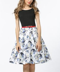 Look what I found on #zulily! Black & White Floral Cap-Sleeve Fit & Flare Dress #zulilyfinds