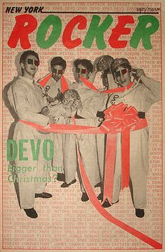 DEVO on the cover of the January 1979 issue of New York Rocker magazine, which hit the streets in December 1978.