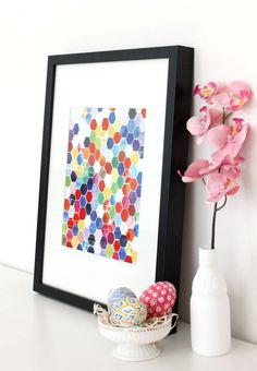 Handmade Watercolor Art Hexagons Original by YaoChengDesign