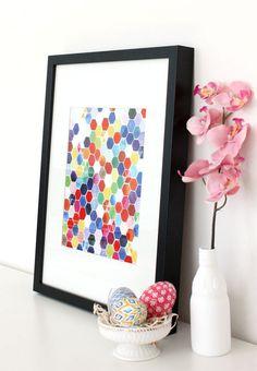 Handmade Watercolor Art Hexagons Original by YaoChengDesign