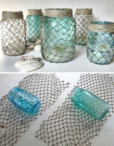 Decorate some mason jars with netting. If you're going for an ocean or nautical theme in your bathroom, these jars make the best accents. - http://www.lifebuzz.com/bathroom/ Put sand, a couple of sea shells and a candle inside. Would be a great decoration for a nautical or boat themes party for example a birthday party, baby shower or wedding.
