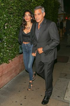 Out on a double date with George Clooney, Cindy Crawford, and Rande Gerber at Giorgio Baldi restaurant in Los Angeles.
