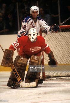 goalie-rogie-vachon-of-the-detroit-red-wings-defends-the-net-as-don-picture-id462349882 (695×1024) Rangers Hockey, Hockey Goalie, Field Goal Kicker, Goalie Mask, Star Wars, Red Wings Hockey, National Hockey League, New York Rangers, Detroit Red Wings
