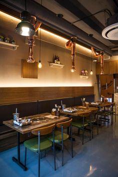Korean Bbq Restaurant, Oriental Restaurant, Resturant Interior, Restaurant Interior Design, Restaurant Lighting, Restaurant Concept, Retail Interior, Cafe Interior, Brick Cafe