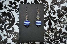 Navy White Stripe Dangle Earrings  Custom Made by InspirableCrafts